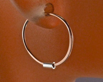 Tiny Gold Hoop Earrings / Rose Gold Sleeper / Small Hoops / Gold Filled Earring / Sterling Silver Bead / septum No.00E188