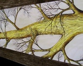 Yellow and Brown Hand Painted Table Runner