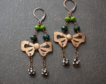 Copper Bow Chandelier Earrings with Forest and Kelly Green Faceted Beads and Rhinestone Ball Dangles