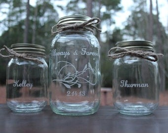 9 Piece Personalized Mason Jar Sand Ceremony set, Wedding Ceremony,Always & Forever, 8 pouring vases, Sand Ceremony Set