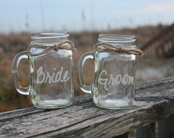2 Mason Jars Mugs, Bride and Groom Mason Jar Mugs, Toasting Glasses, Engraved Mason Jar Mugs, Couple Wedding Gift,  Couples Glasses