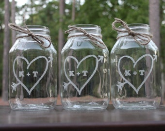 20  Personalized Mason Jars, Engraved Wedding Center Pieces, Wedding Center Pieces, Wedding Vases, Bridesmaid gifts, Rustic Mason Jar Vases