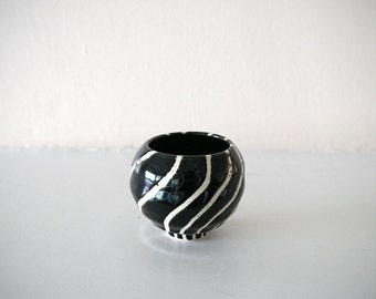 "Small Stoneware Cup with Black and White Whirling Design / Wheel Thrown / ""TWIST UP"""