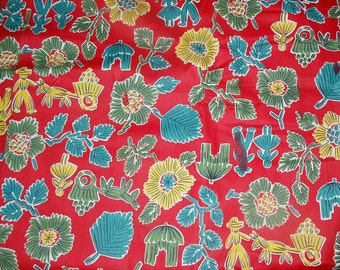 """Vintage 1930's Southwestern Cotton Fabric 1 Yd L 35"""" W Quilting Fabric"""