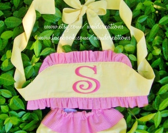 Monogram swimsuit handmade for baby, toddler and girls with ruffles TWO piece bathing suit custom personalized