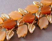 Tan Thermoset Leaf Bracelet 1950s