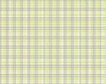 Sale-Lullaby Baby from Anthology Fabrics --  Full or Half Yard Green and Gray Plaid on White Quilt Fabric