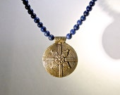 Lapis Lazuli Brass and 14 Karat Gold Necklace