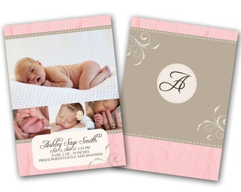 INSTANT DOWNLOAD - Birth announcement photo card template, 5x7 card - 0162