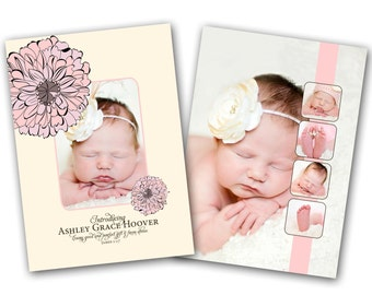 INSTANT DOWNLOAD - Birth announcement photo card template, 5x7 card - 0216