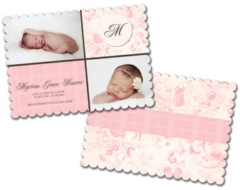 INSTANT DOWNLOAD -   Birth announcement photo card template, Luxe card - 0158