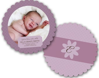 INSTANT DOWNLOAD - Birth announcement photo card template, Luxe card - 0181