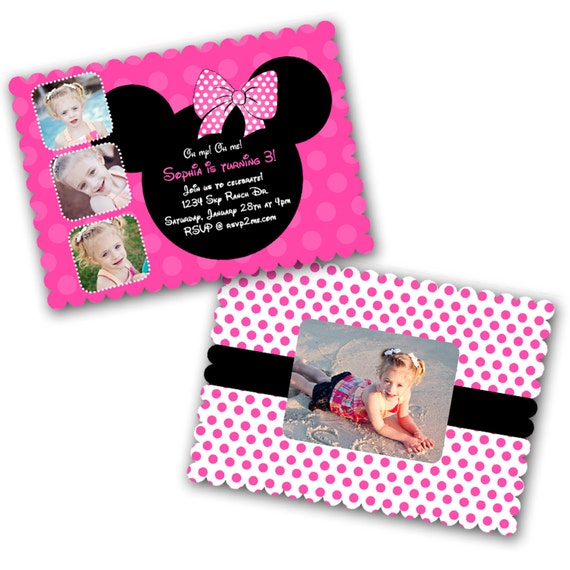 INSTANT DOWNLOAD -  Luxe Birthday Invitation Photoshop Psd Photo Card Template Photographers - Mickey Mouse - 0568