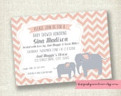 Chevron Baby Girl Peach Elephant - Vintage Banner - Baby Shower or Sprinkle - PRINTABLE Invitations