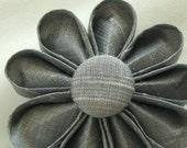 Grey Silk Kanzashi Flower Pin with Grey Button, Wedding Fashion Accessory, Boutonniere