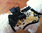 Small Dog Harness, Summer Paisley, Bow, yellow, black, Made in USA, dog harnesses, pet clothing