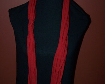 Upcycled Red Dyed  T-Shirt Scarf
