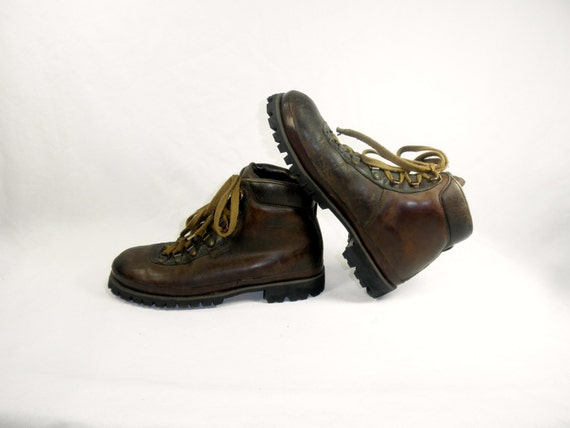 Cool Vintage Womenu0026#39;s Hiking BOOTS Brown LEATHER Vintage By ZiaVintage