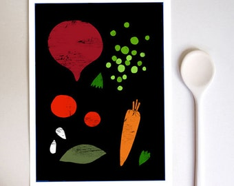 "Good Food 2 Kitchen print 8.3"" x 11.7""- A4 food illustration - high quality fine art print"