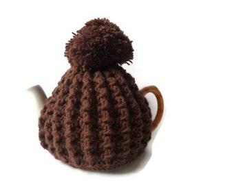 tea cosy cosie cozy brown with pom pom medium pot