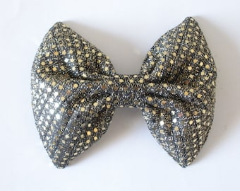 Sequin Hair Bow, Gold and Black Hair Bow, Iridescent Shimmery Shiny