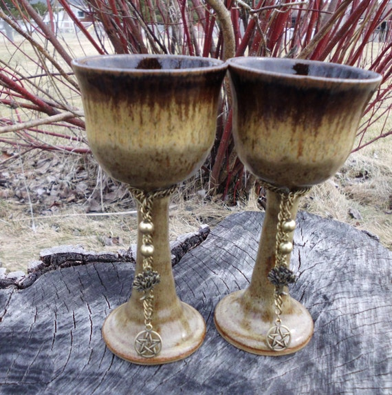 Handfasting Chalices, Wine Goblets, Wedding Chalices, Wine, Mead, Cakes and Ale,  Tree of Life Ritual Chalices Witchcraft, Wicca,