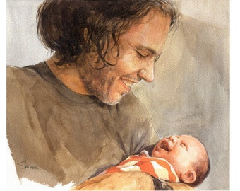 """Customized original watercolor portrait from photo  4"""" x 6"""""""