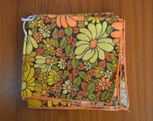 Set of Four Vintage Mod Flower Cloth Napkins