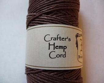 Cord, Polished Hemp, Dark Brown, 1mm, Diameter, 20-pound test, Sold Per 25 Feet