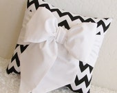 "Black and White Chevron Bow Accent-Throw Pillow 12"" x 12"" - Made Upon Order - by pillowsbycindee at etsy"