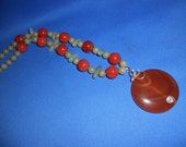 FREE SHIPPING   Green Beaded Necklace  Jade Necklace  Carnelian Necklace  Carnelian Pendant  Wire Wrapped Necklace UNDER 50
