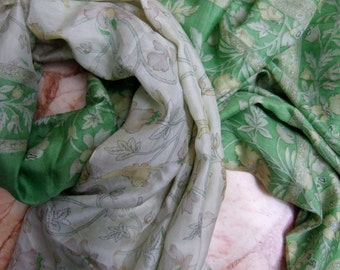Beautiful ---Unique---  Floral Scarf,  Recycled Sari Pure Silk Scarf (44x70)