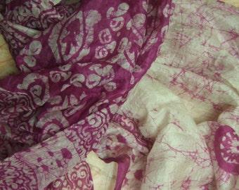 Beautiful Abstract Print Scarf,  Recycled Sari Pure Silk Scarf (42x70)
