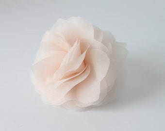 Silk Organza Hair Flower, White, Off White, Ivory, Blush Pink, Champagne-Style No.325