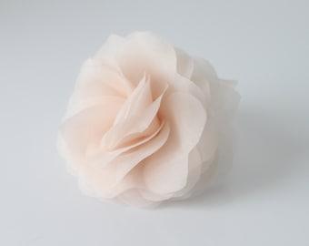 Bridal Hair Flower, Silk Organza Hair Flower, Silk Hair Flower, White, Off White, Ivory, Blush Pink, Champagne-Style No.325