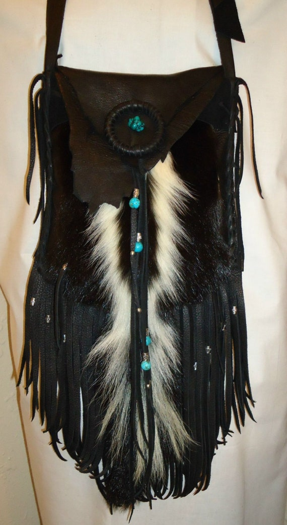 Skunk pelt and leather possibles bag mountain man native american style OOAK
