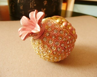 Pill box trinket box enamled metal box with rhinestones  pomegranate shape