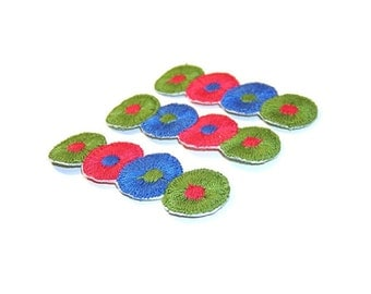 Circle Appliques, Red, Green, Blue, Embroidered Applique, Embroidered, Circle, Round, Patch, Lot of 12, Flowers