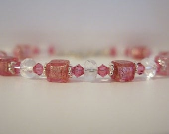 Venetian Glass Pink 925 Sterling Bracelet