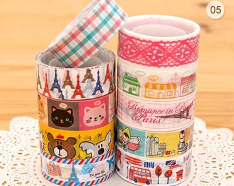 Set of 10 Rolls Kawaii Japanese Diy Deco Tape -  5m per tape (pink lace ,check, paris tower, bear,cat)