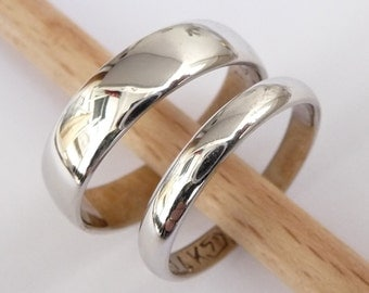 wedding rings set white gold wedding bands set men women rings polished shiny finish - Men And Women Wedding Rings
