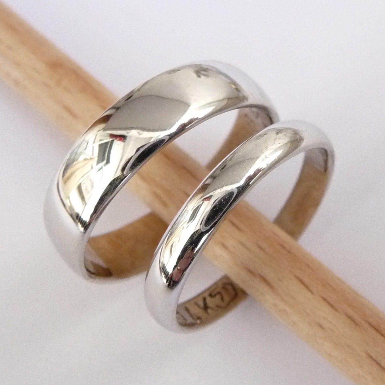 Wedding Rings Set White Gold Wedding Bands Set Men Women Rings