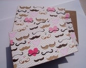 Mustache Note Cards - Hearts Mustache Stationery Set, Chevron Stripes Hearts Cute Valentine Cards, Love Notes