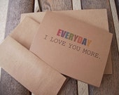 I Love You More - Valentine Card, Anniversary, Love You, Kraft Rustic Love Greeting Card, Love Typography, Minimalist Friendship Kraft Paper