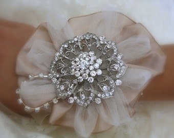 Brooch Wrist Corsage- Bridal Wrist Corsage-Wedding Bridal Jewelry- Mothers of the Bride & Groom Gift  Wedding Corsage