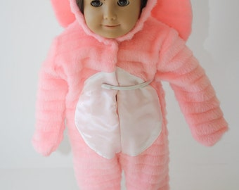 Peach Faux Fur Bunny Costume for Eighteen Inch Doll