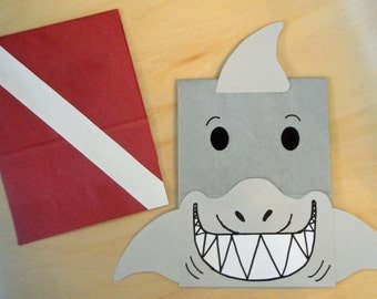 Shark Scuba Diver Treat Sacks - Ocean Sea Tropical Theme Birthday Party Favor Bags by jettabees on Etsy