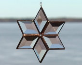 3D Geometric Peach Champagne Beveled Stained Glass Star Suncatcher