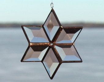 Stained Glass Star Suncatcher Sculptural Geometric Peach Champagne Beveled Glass Hanging Geometric Ornament Indoor Outdoor Glass Garden Art