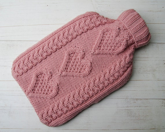 Knitted Hot water Bottle Cover in Merino Wool Hearts Pink Aran Cable